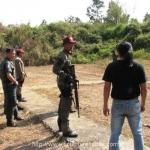 M16 on the range Training shooting gun by papier mache target