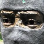 Target close-up balaklava Terrorist Target Shooting gun by sculpture Artist