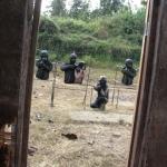 View of range through the door papier mache target shooting
